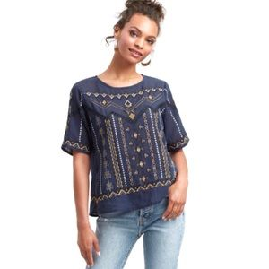 Navy Embroidered Azure Top Size L/XL, NWT
